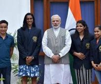 PM hosts Sindhu, Sakshi and other sports awardees