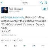 Piers Morgan rekindles Twitter war with Virender Sehwag, throws down a million rupee gauntlet