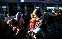 Migrant train through Austria