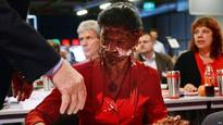German woman opposition leader attacked with chocolate cake