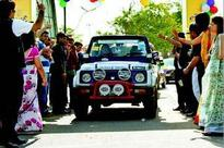 Women's car rally on International Women's Day in Jaipur